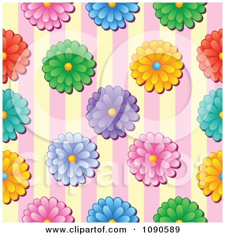 Clipart Seamless Colorful Daisy And Yellow And Pink Stripes Background - Royalty Free Vector Illustration by visekart