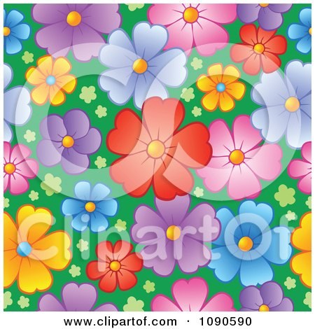 Clipart Seamless Colorful Blossom And Grass Background - Royalty Free Vector Illustration by visekart