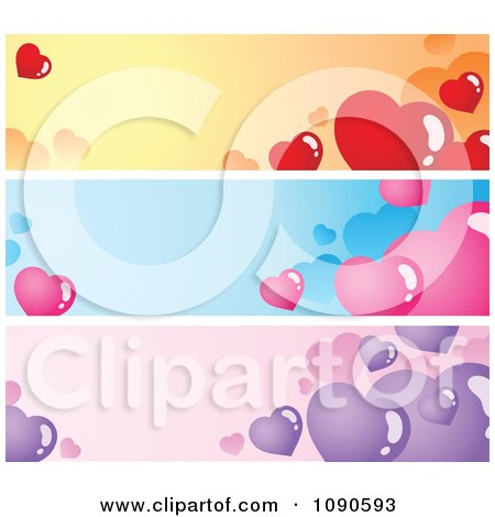 Clipart Orange Blue And Purple Valentine Heart Website Banners - Royalty Free Vector Illustration by visekart