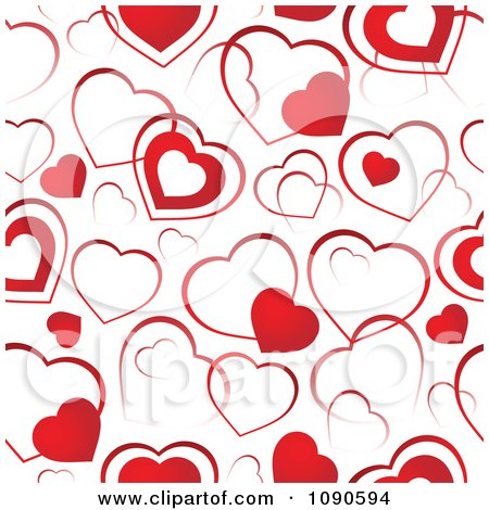Clipart Seamless Background Of Red And White Hearts - Royalty Free Vector Illustration by visekart