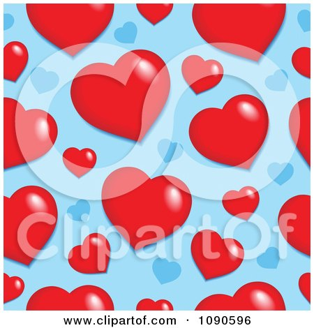 Clipart Seamless Red And Blue Heart Pattern - Royalty Free Vector Illustration by visekart