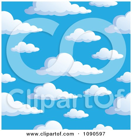 Seamless Colorful Puffy Cloud And Blue Sky Background Posters, Art Prints