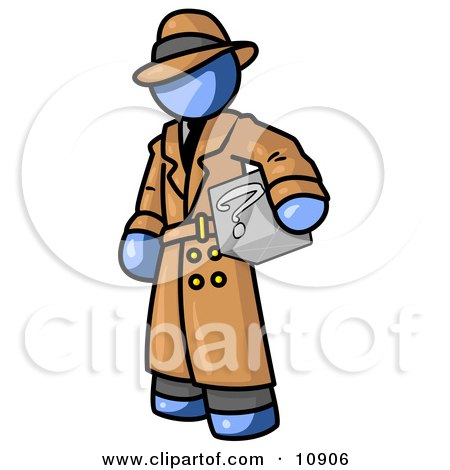 Secretive Blue Man in a Trench Coat and Hat, Carrying a Box With a Question Mark on it Clipart Illustration by Leo Blanchette