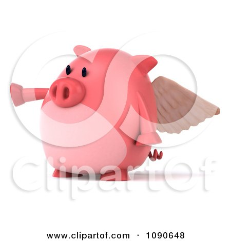 Clipart 3d Pookie Pig Angel Pointing Left - Royalty Free CGI Illustration by Julos