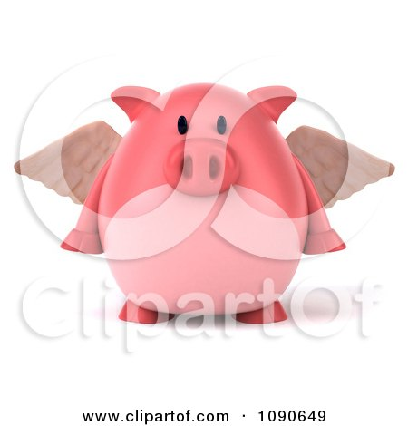 Clipart 3d Pookie Pig Angel Facing Front - Royalty Free CGI Illustration by Julos