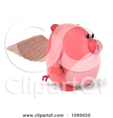 Clipart 3d Pookie Pig Angel Facing Right - Royalty Free CGI Illustration by Julos
