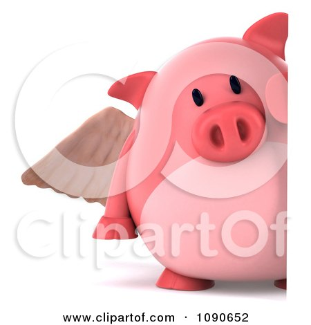 Clipart 3d Pookie Pig Angel With A Sign 2 - Royalty Free CGI Illustration by Julos