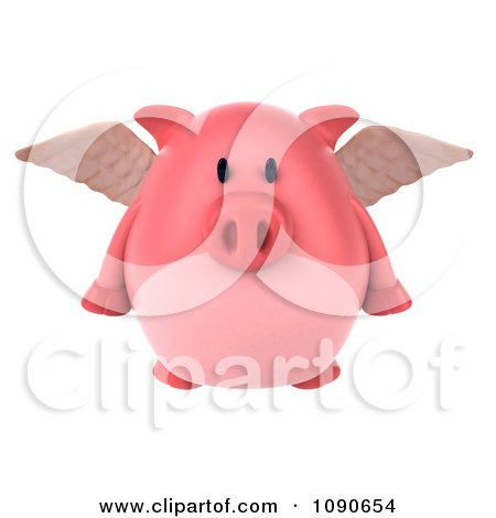 Clipart 3d Pookie Pig Angel Flying 1 - Royalty Free CGI Illustration by Julos