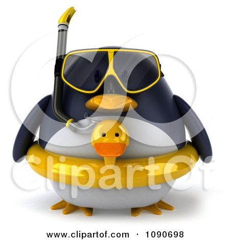 Clipart 3d Chubby Snorkel Penguin With An Inner Tube - Royalty Free CGI Illustration by Julos