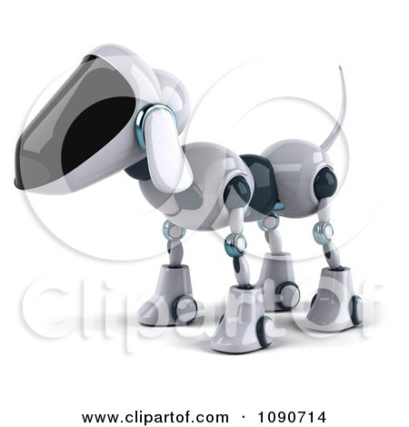 Clipart 3d Robotic Dog Facing Left - Royalty Free CGI Illustration by Julos