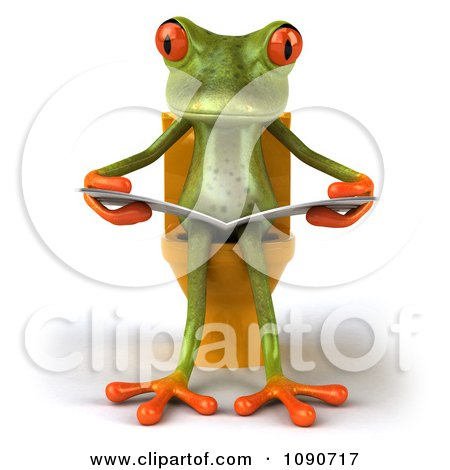 Clipart 3d Springer Frog Reading On The Toilet 1 - Royalty Free CGI Illustration by Julos