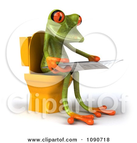 Clipart 3d Springer Frog Reading On The Toilet 2 - Royalty Free CGI Illustration by Julos