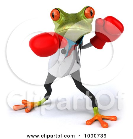 Clipart 3d Doctor Springer Frog Punching With Boxing Gloves 1 - Royalty Free CGI Illustration by Julos