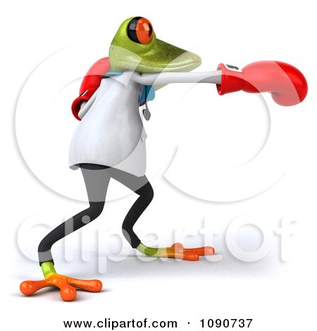 Clipart 3d Doctor Springer Frog Punching With Boxing Gloves 2 - Royalty Free CGI Illustration by Julos