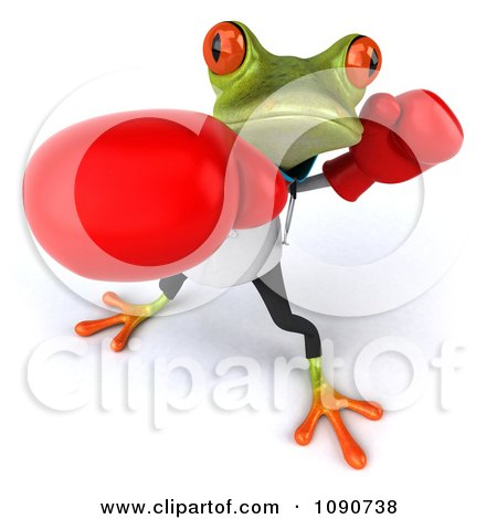 Clipart 3d Doctor Springer Frog Punching With Boxing Gloves 3 - Royalty Free CGI Illustration by Julos