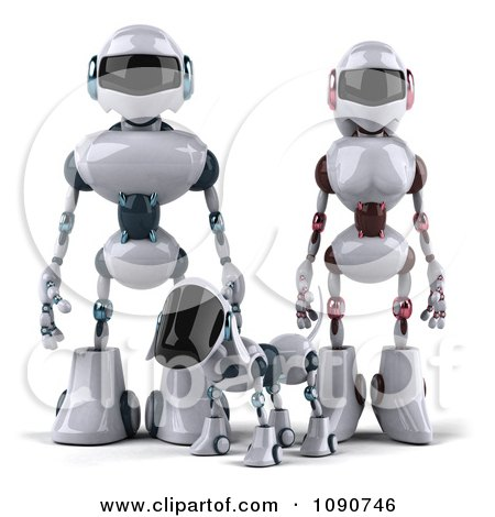 Clipart 3d Futuristic Robotic Dog Standing With A Couple - Royalty Free CGI Illustration by Julos