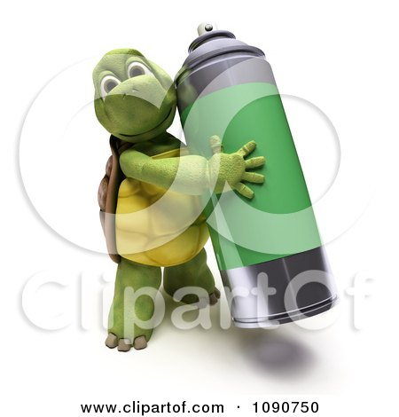 Clipart 3d Tortoise Carrying Spray Paint - Royalty Free CGI Illustration by KJ Pargeter