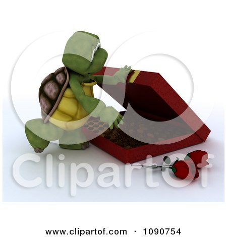 Clipart 3d Tortoise Opening A Box Of Valentines Day Chocolates - Royalty Free CGI Illustration by KJ Pargeter