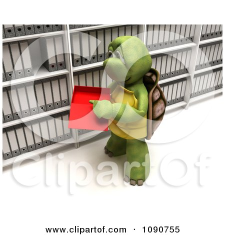Clipart 3d Tortoise Filing Data In A Box - Royalty Free CGI Illustration by KJ Pargeter