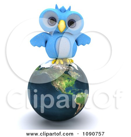 Clipart 3d Blue Owl Perched On Earth - Royalty Free CGI Illustration by KJ Pargeter