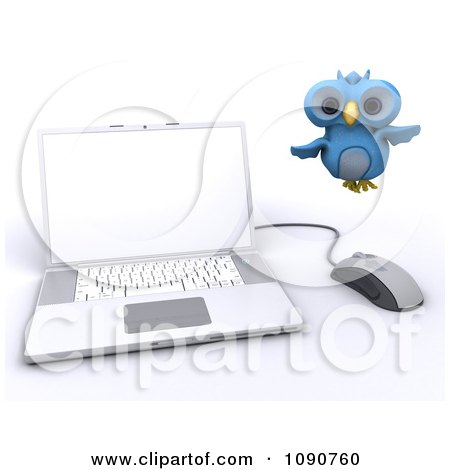 Clipart 3d Blue Owl Flying By A Laptop - Royalty Free CGI Illustration by KJ Pargeter
