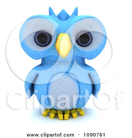 Clipart 3d Blue Owl Royalty Free CGI Illustration