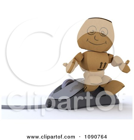 Clipart 3d Cardboard Box Man Sitting On A Computer Mouse - Royalty Free CGI Illustration by KJ Pargeter