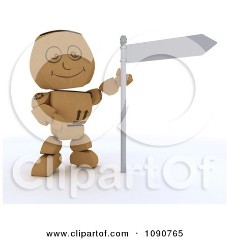 Clipart 3d Cardboard Box Man With A Street Sign - Royalty Free CGI Illustration by KJ Pargeter