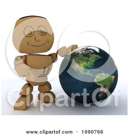 Clipart 3d Cardboard Box Man Presenting A Globe - Royalty Free CGI Illustration by KJ Pargeter