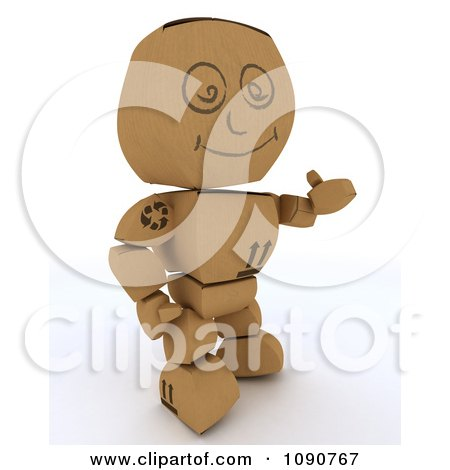 Clipart 3d Cardboard Box Man Holding A Thumb Up - Royalty Free CGI Illustration by KJ Pargeter