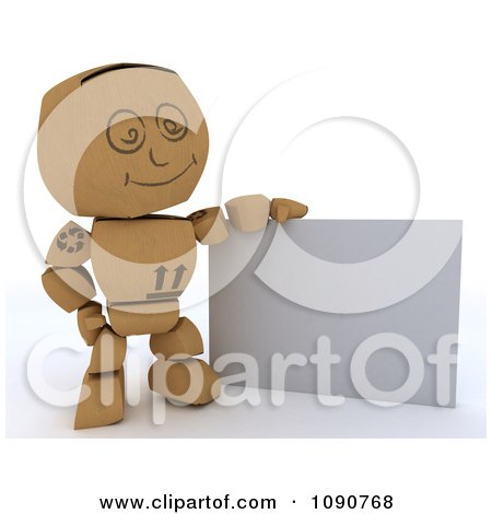 Clipart 3d Cardboard Box Man With A Blank Sign - Royalty Free CGI Illustration by KJ Pargeter