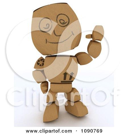 Clipart 3d Cardboard Box Man Waving - Royalty Free CGI Illustration by KJ Pargeter
