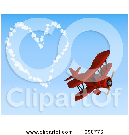 Clipart 3d Red Biplane Drawing A Valentine Heart In The Sky - Royalty Free CGI Illustration by KJ Pargeter