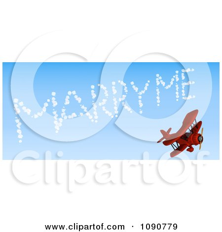 Clipart 3d Red Biplane Drawing Marry Me In The Sky - Royalty Free CGI Illustration by KJ Pargeter