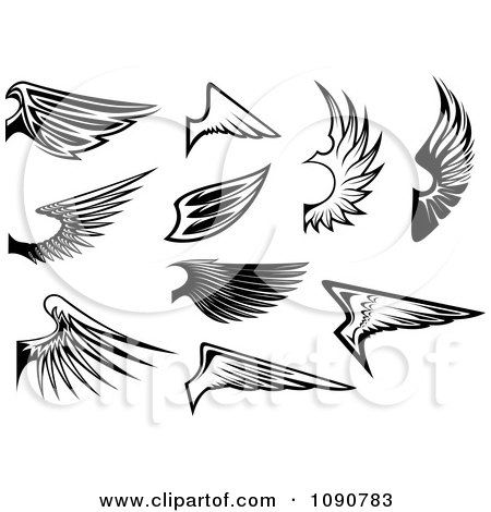 Clipart Black And White Wing Designs 1 - Royalty Free Vector Illustration by Vector Tradition SM