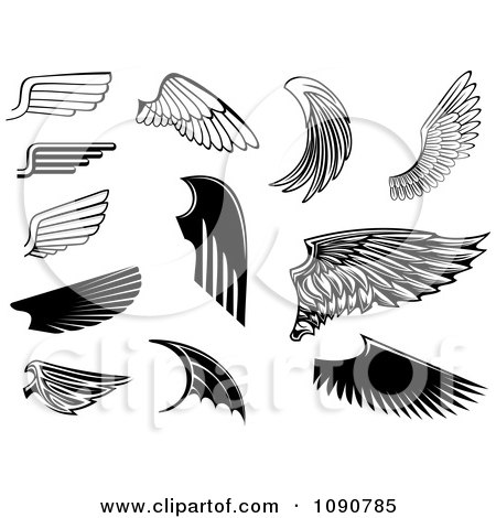 Clipart Black And White Wing Designs 2 - Royalty Free Vector Illustration by Vector Tradition SM