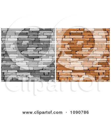 Clipart Grayscale And Brown Walls Of Stacked Stones Or Bricks - Royalty Free Vector Illustration by Vector Tradition SM