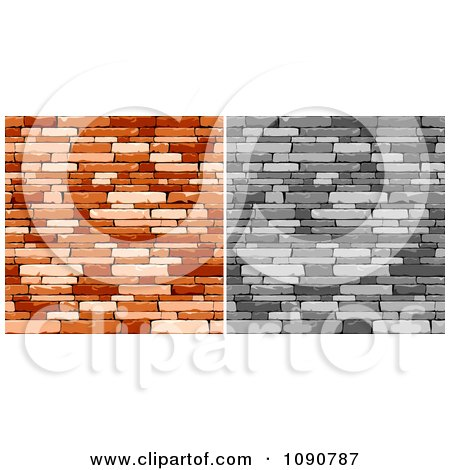 Clipart Grayscale And Rich Brown Walls Of Stacked Stones Or Bricks - Royalty Free Vector Illustration by Vector Tradition SM