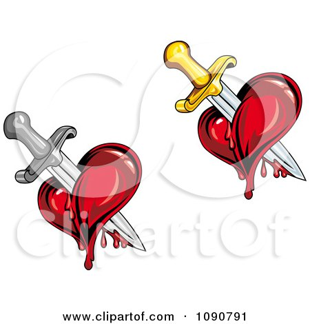 Bleeding Hearts Stabbed With Swords