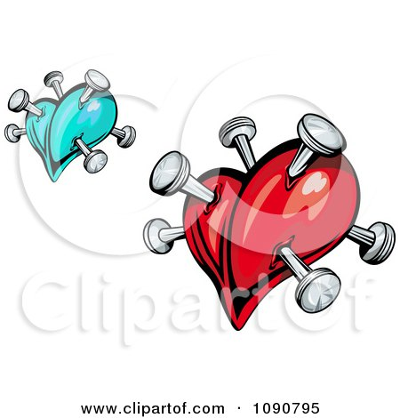 Clipart Blue And Red Hearts Stabbed With Pins - Royalty Free Vector Illustration by Vector Tradition SM