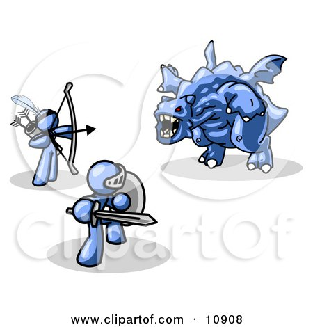 Two Blue Men Working Together to Conquer an Obstacle, a Dragon Clipart Illustration by Leo Blanchette