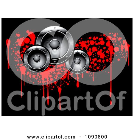 Clipart Silver Music Speakers Over Red Bloody Grunge Drops On Black - Royalty Free Vector Illustration by Vector Tradition SM