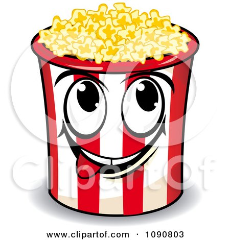 Clipart Happy Popcorn Bucket Character Licking His Lips - Royalty Free Vector Illustration by Vector Tradition SM