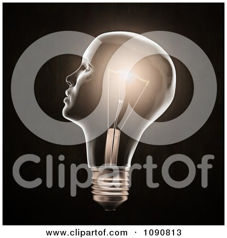 Clipart 3d Face Light Bulb Glowing - Royalty Free CGI Illustration by Mopic
