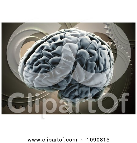Clipart 3d Human Brain Over Gears - Royalty Free CGI Illustration by Mopic