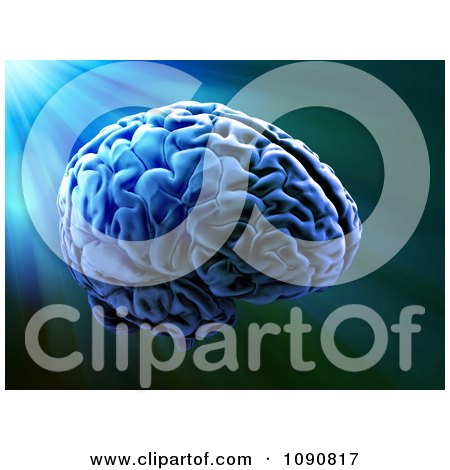 Clipart Blue Light Shining On A 3d Floating Human Brain - Royalty Free CGI Illustration by Mopic