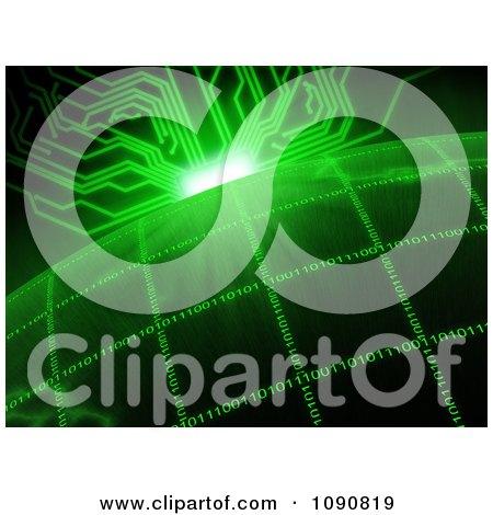 Green Circuit Sun Rising Over A Binary Grid Globe Posters, Art Prints