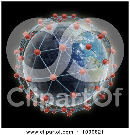 Clipart 3d Earth Surrounded By World Network Connections - Royalty Free CGI Illustration by Mopic