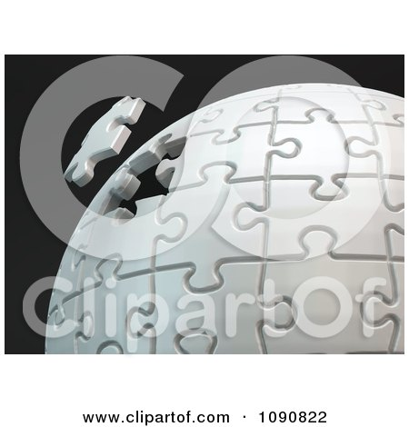 Clipart 3d Puzzle Sphere With The Final Piece Floating Into Place - Royalty Free CGI Illustration by Mopic
