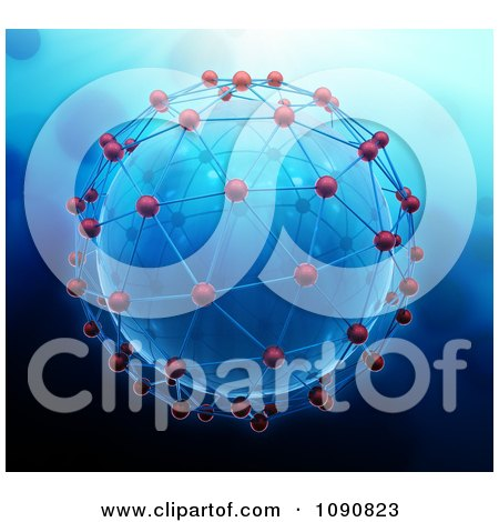 Clipart 3d Blue Globe Engulfed In Network Connections - Royalty Free CGI Illustration by Mopic